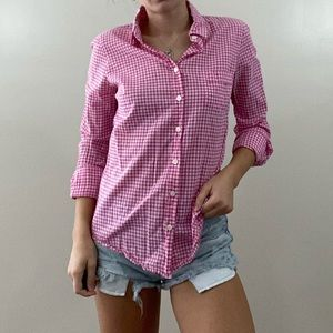 J. Crew Pink Gingham Button Down Shirt